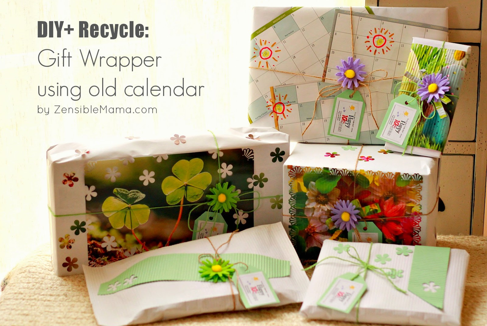 Diy Recycle Calendar : Zensible mama diy recycle unique gift wrapper using