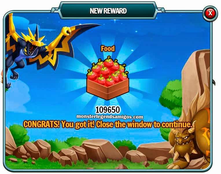 imagen del premio gratis de comida de monster legends