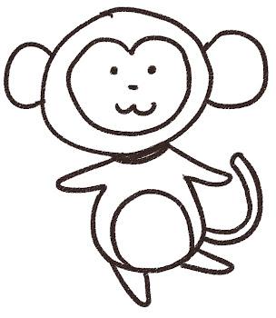 猿のイラスト(申年・干支)線画