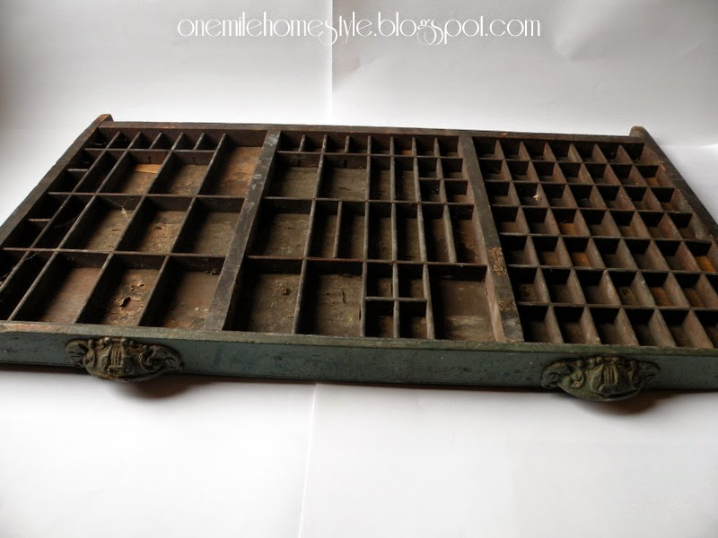Vintage printer's tray with ornate handles