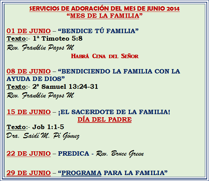 MENSAJES DE JUNIO 2014
