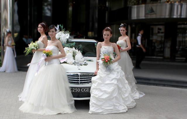 Xe cưới Mercedes C250 màu trắng