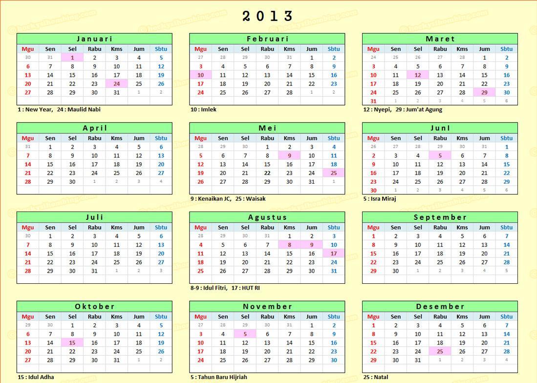 Kalender Tahun 2013 dan Hari Libur Nasional