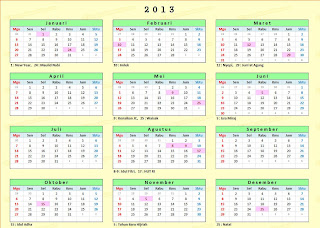 Jadwal Libur nasional 2013, Cuti Bersama 2013