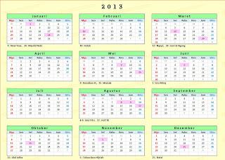 Jadwal Libur nasional 2013, Cuti Bersama 2013