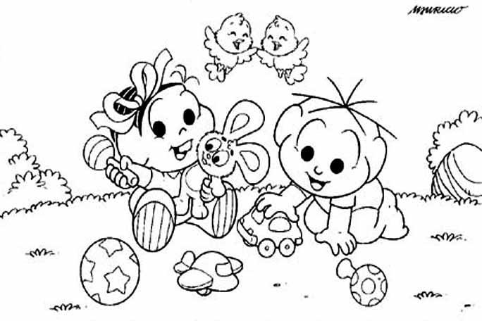 Desenhos Preto e Branco Turma Da Monica Bebes Colorir