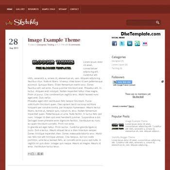 Sketchly Blogger Template. minimalist design blogger template. blogspot template 4 column footer