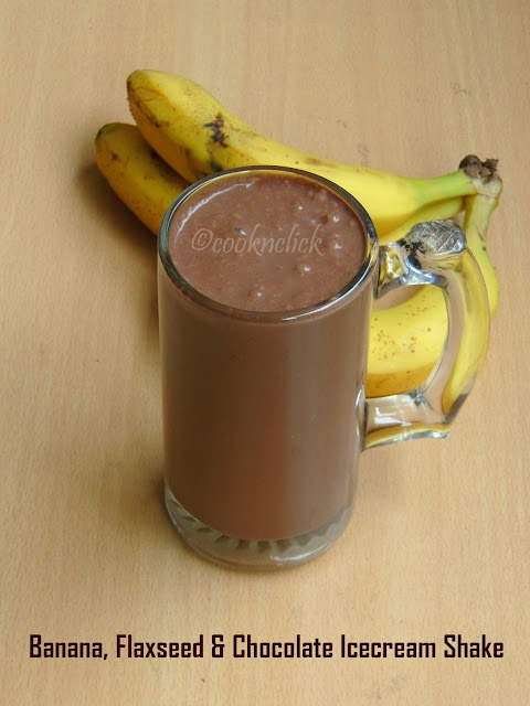 Banana, flaxseed & Chocolate icecream Shake