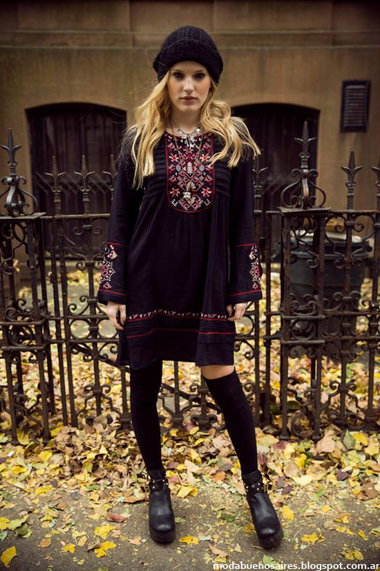 India Style otoño invierno 2014 vestidos cortos invierno 2014.