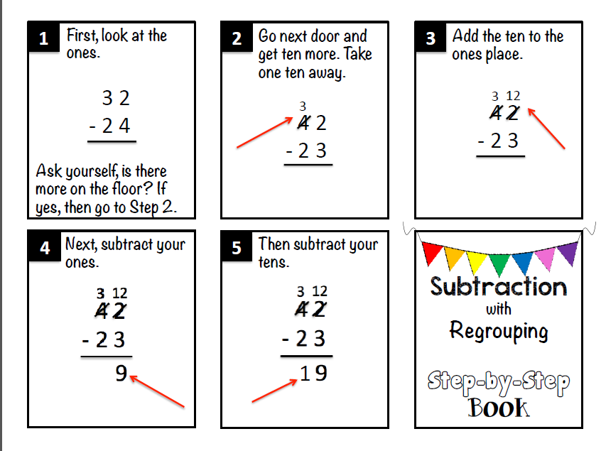 https://www.teacherspayteachers.com/Product/Subtraction-with-Regrouping-Step-by-Step-Book-1659323