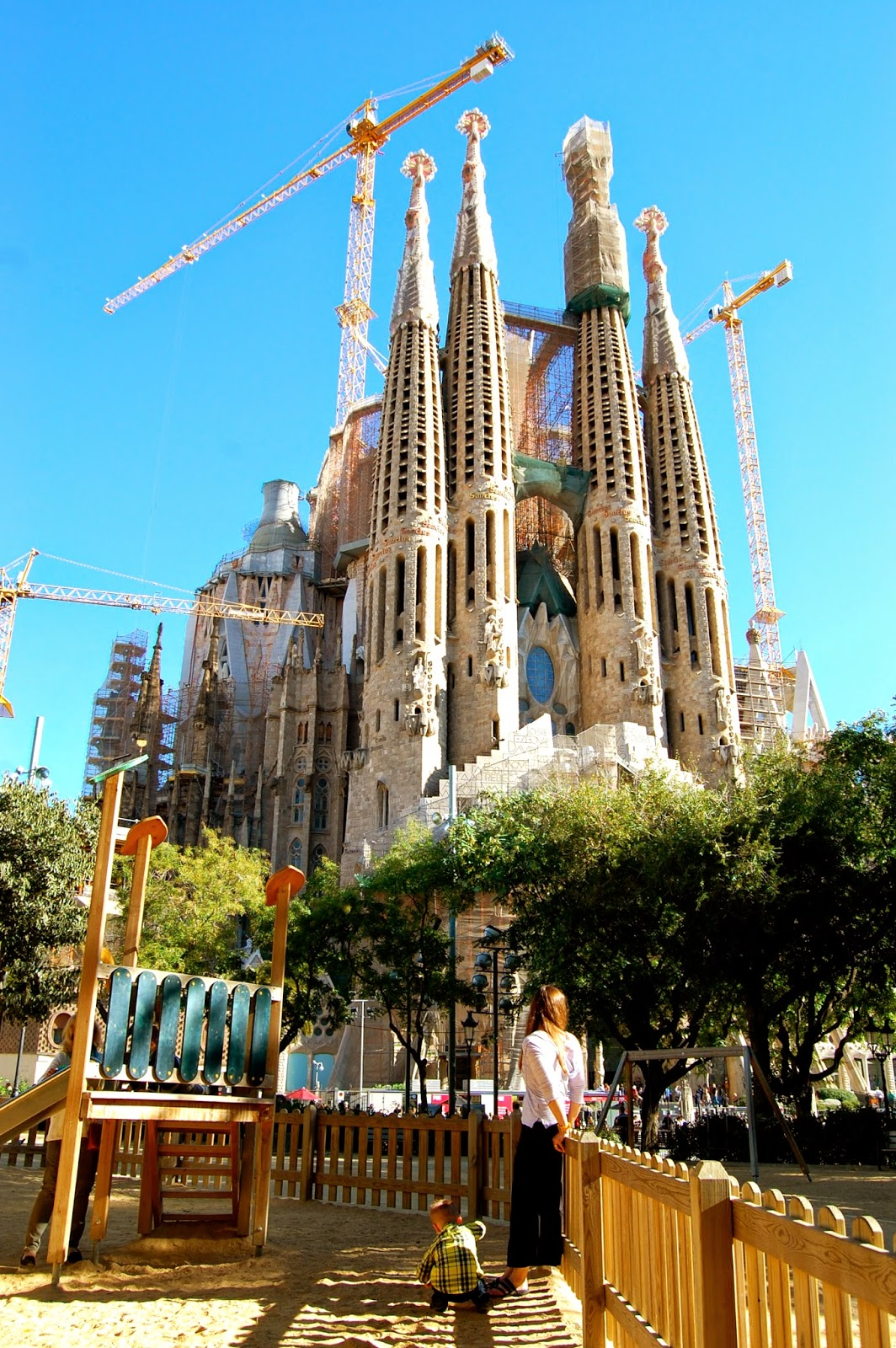 View of the Passion Facade of the Sagrada Familia from the playground