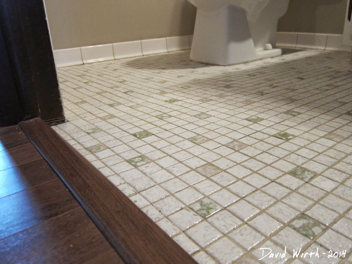 existing tile floor, demo, tile bathroom