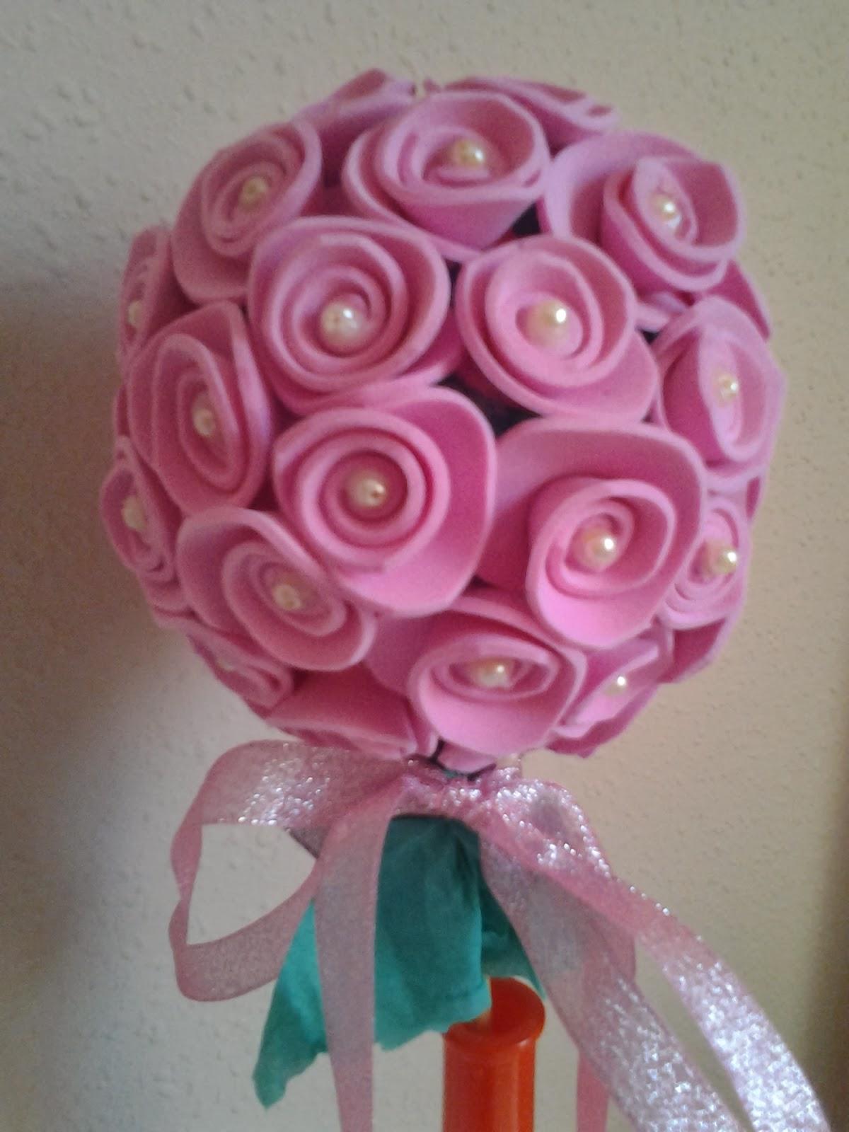 Caprichos de mi mami arbolito con flores de goma eva - Flores con goma eva ...