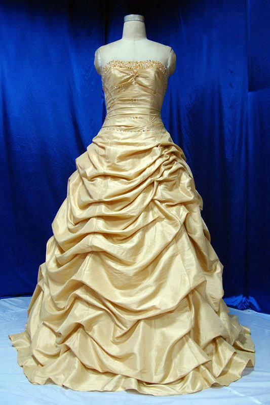 Vintage Wedding Dresses Gold : Heart wedding dress gold