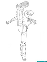 Buku Mewarnai Gambar Tendangan Rock Lee Taijitsu Ninja