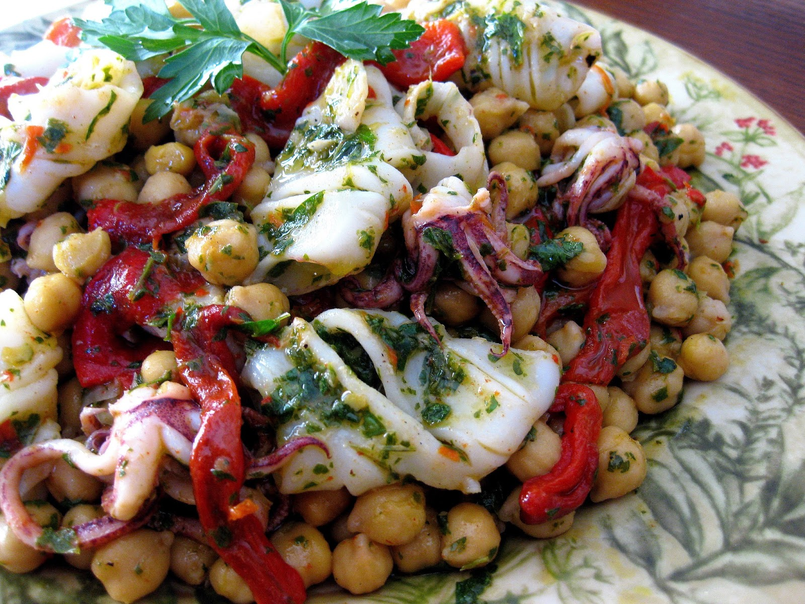 ... Kitchen: Grilled Squid with Chickpeas, Roasted Red Peppers