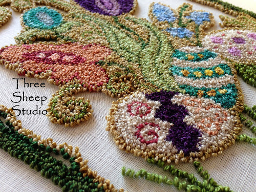"""Springtime"" Punch Needle Hanging Panel Pattern - ThreeSheepStudio.com"