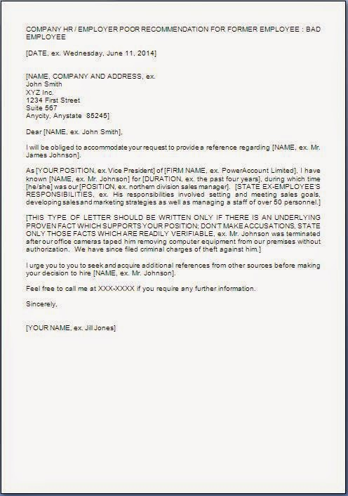 Reference Letter For Bad Employee Sample Letter To Employer Bad – Reference Letter for Staff
