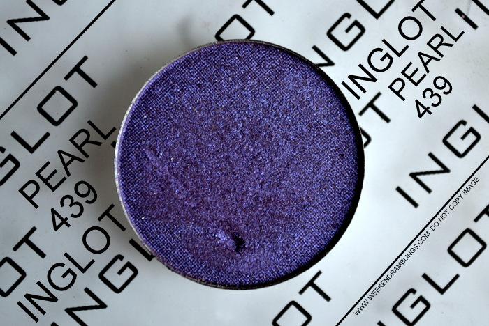 Inglot Pearl 439 Purple Eyeshadow Indian Makeup Beauty Blog Darker Skin Swatch FOTD Makeup Look EOTD Reviews