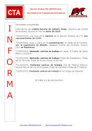 C.T.A. INFORMA CRÉDITO HORARIO ANTONIO PÉREZ, JUNIO 2019