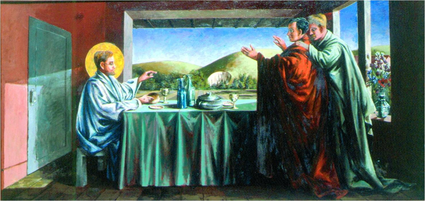 the supper at emmaus by quentin bell. Black Bedroom Furniture Sets. Home Design Ideas