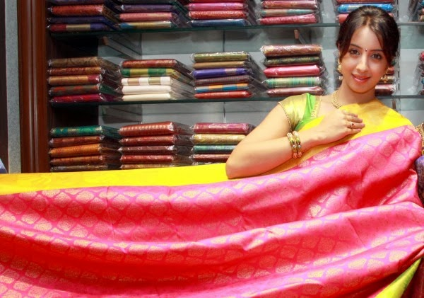 Actress Sanjana in Kanchipuram Silk Saree