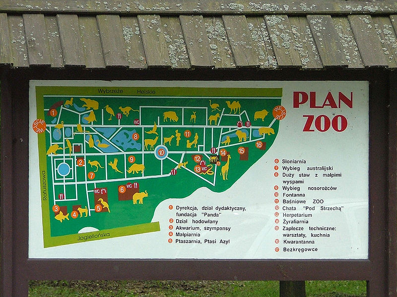 Zoo Map Template Map of Warsaw Zoo