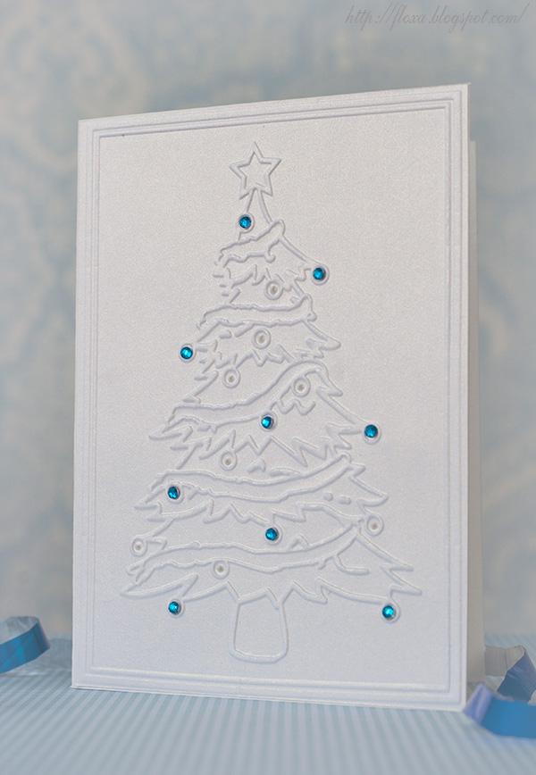 открытка чисто и просто, открытка тиснение, открытка с елкой белая
