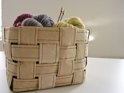 reurposed paper bag woven basket