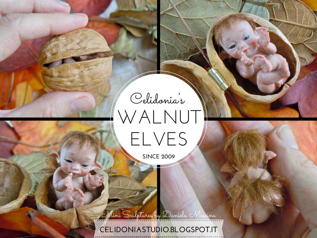 Walnut Elf - Mini sculpture in Polymer Clay by Celidonia