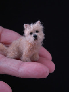 CDHM Gallery of Lucy Maloney of Designer Dog Miniatures made this cairn terrier 1:12 dog for dollhouse miniature dollhouses