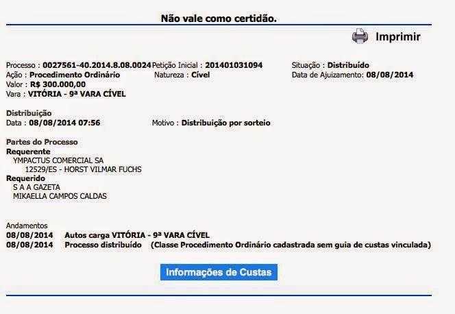 TelexFREE processa Jornalista e Portal Gazeta por danos morais em 300mil reais