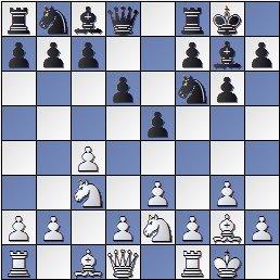 Posición después de 7.Cbc3 de la partida de ajedrez Farré vs. Gligoric, I Torneo Internacional de Ajedrez Costa del Sol 1961