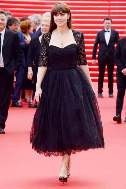 Monica Bellucci in a Dolce & Gabbana black lace dress at Cannes 2014