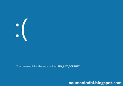 PFN_LIST_CORRUPT BSOD Windows 8