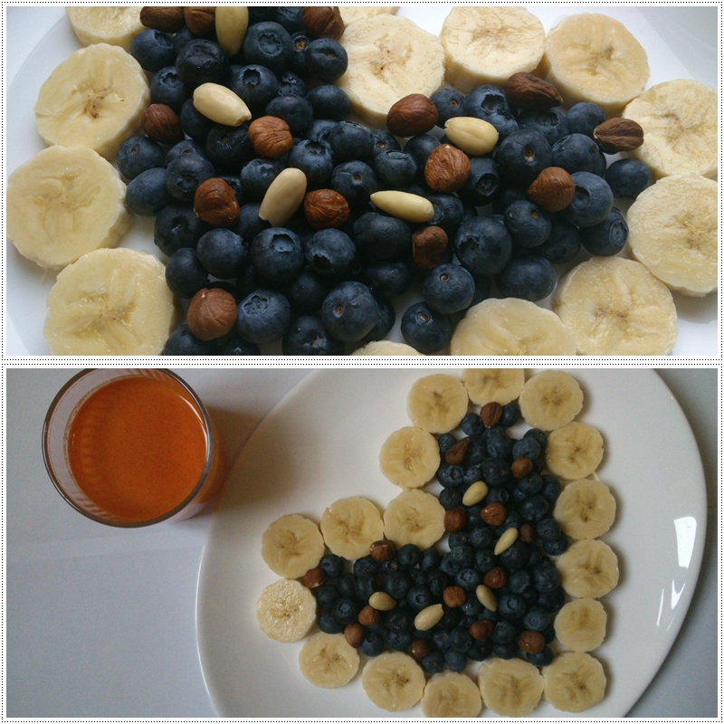 Banana, blueberry, fresh juice