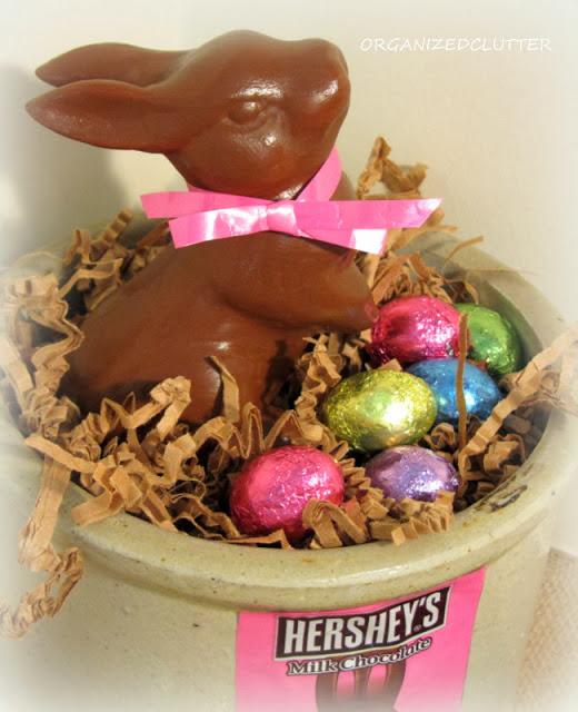 Faux Chocolate Easter Bunny www.organizedclutterqueen.blogspot.com