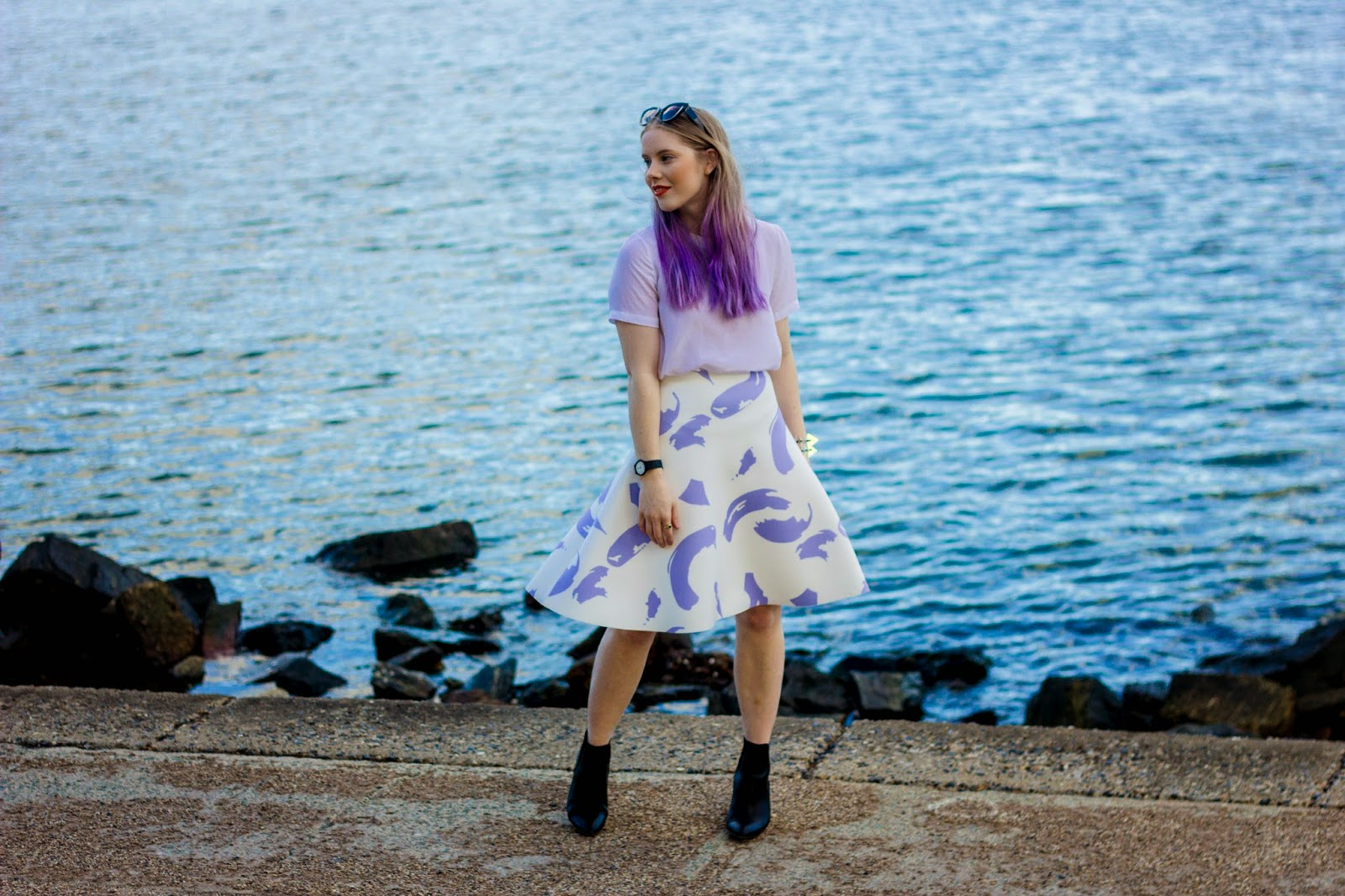 Pip O'Sullivan fashion blog, outsideiscolours, outside is colours blog, Pedestrian Blogster Awards, purple hair, dip dye, ombre hair, Ciara Clark, perspex jewellery, perspex spike bracelet, iridescent, Brisbane fashion blogger, Sheike, Celine paint strokes skirt, Sheike lilac paint strokes skirt, Glassons silk t-shirt, ASOS leather boots, ASOS Einstein boots black, scuba midi skirt, scuba circle skirt, fashion blogger
