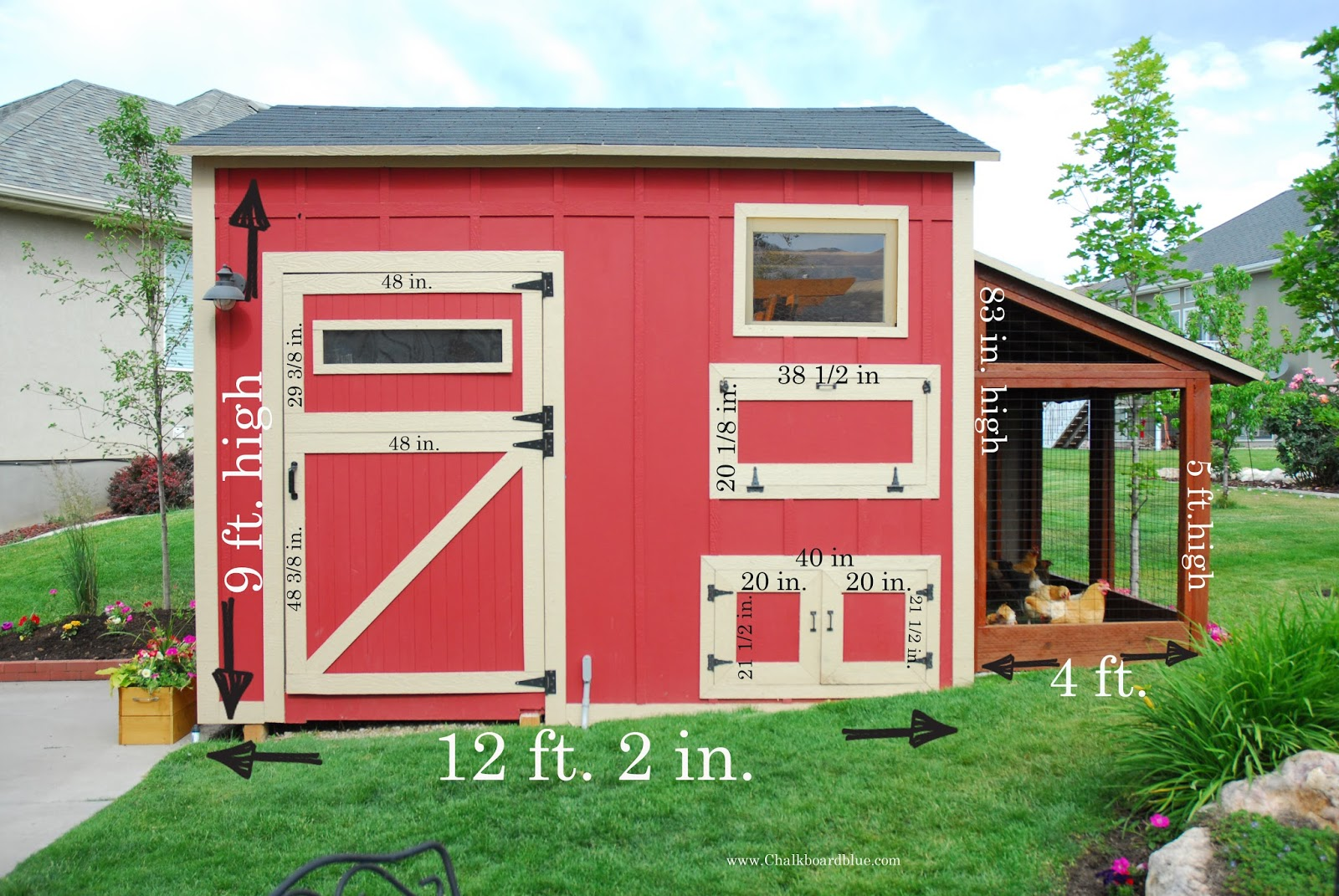 Chalkboard blue shed chicken coop measurements for Chicken coop dimensions
