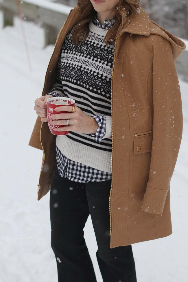 michael kors coat, citizens of humanitiy jeans, madewell fair isle sweater, madewell beanie,