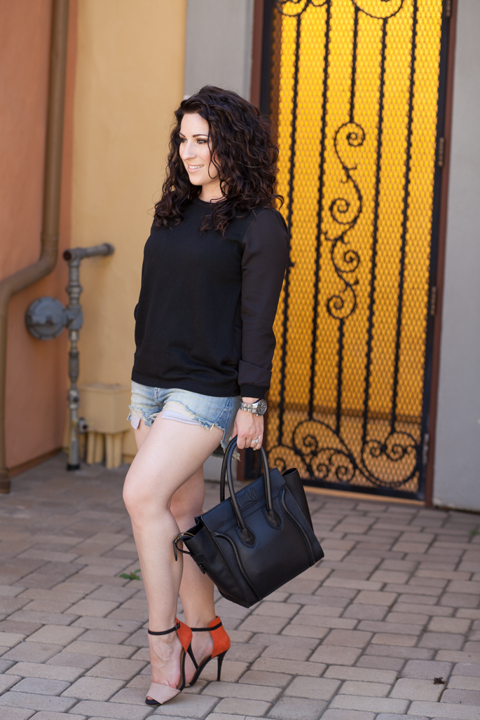 le tote sweater, distressed shorts, colorblock heels, timex watch