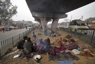 homeless, sleeping under fly-over, winters, delhi