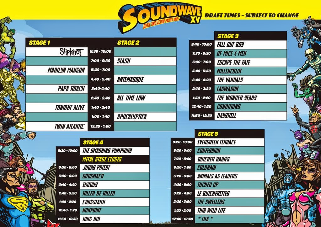 soundwave timetable 2015
