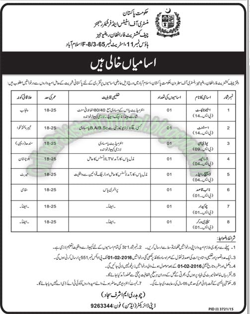 Chief Commissionarate For Afghan Refiguees jobs in islamabad