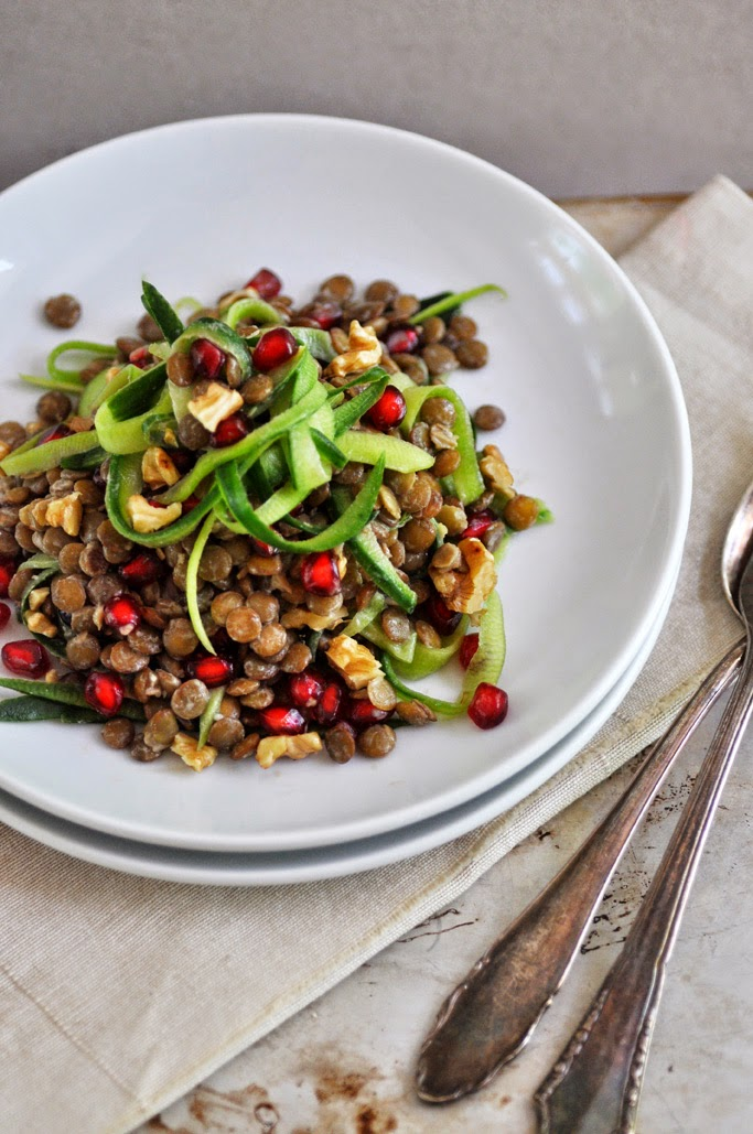 Lentil Pomegranate Salad with Cucumber Ribbons