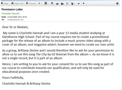 A Track Permission Letter Allows Us To Contact An Artists Through Either Or Email Me And Charlotte Had Ensure That We From The