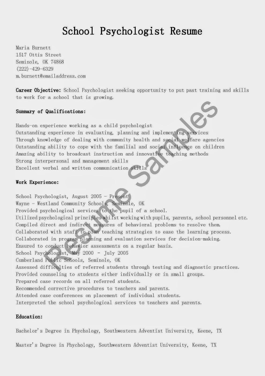 resume samples  school psychologist resume sample