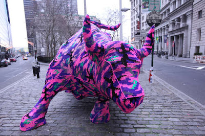 yarn bombing wall street bull bomb