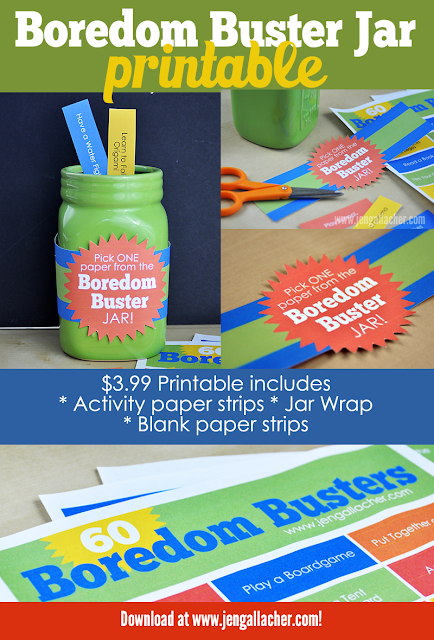 Download your Boredom Buster Jar Printable for just $3.99. Printable activity paper strips, jar wrap, and instructions. Download here: http://jen-gallacher.mybigcommerce.com/boredom-busters-jar-printable/