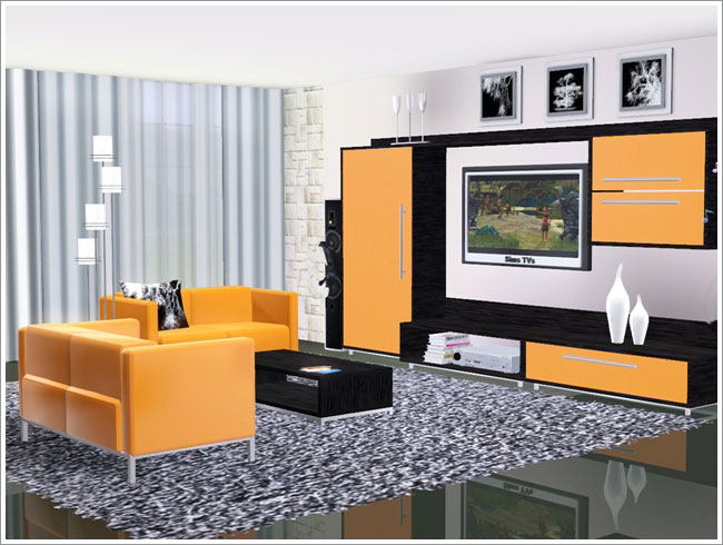 My sims 3 blog evita modern living room set by severinka for Living room ideas sims 3